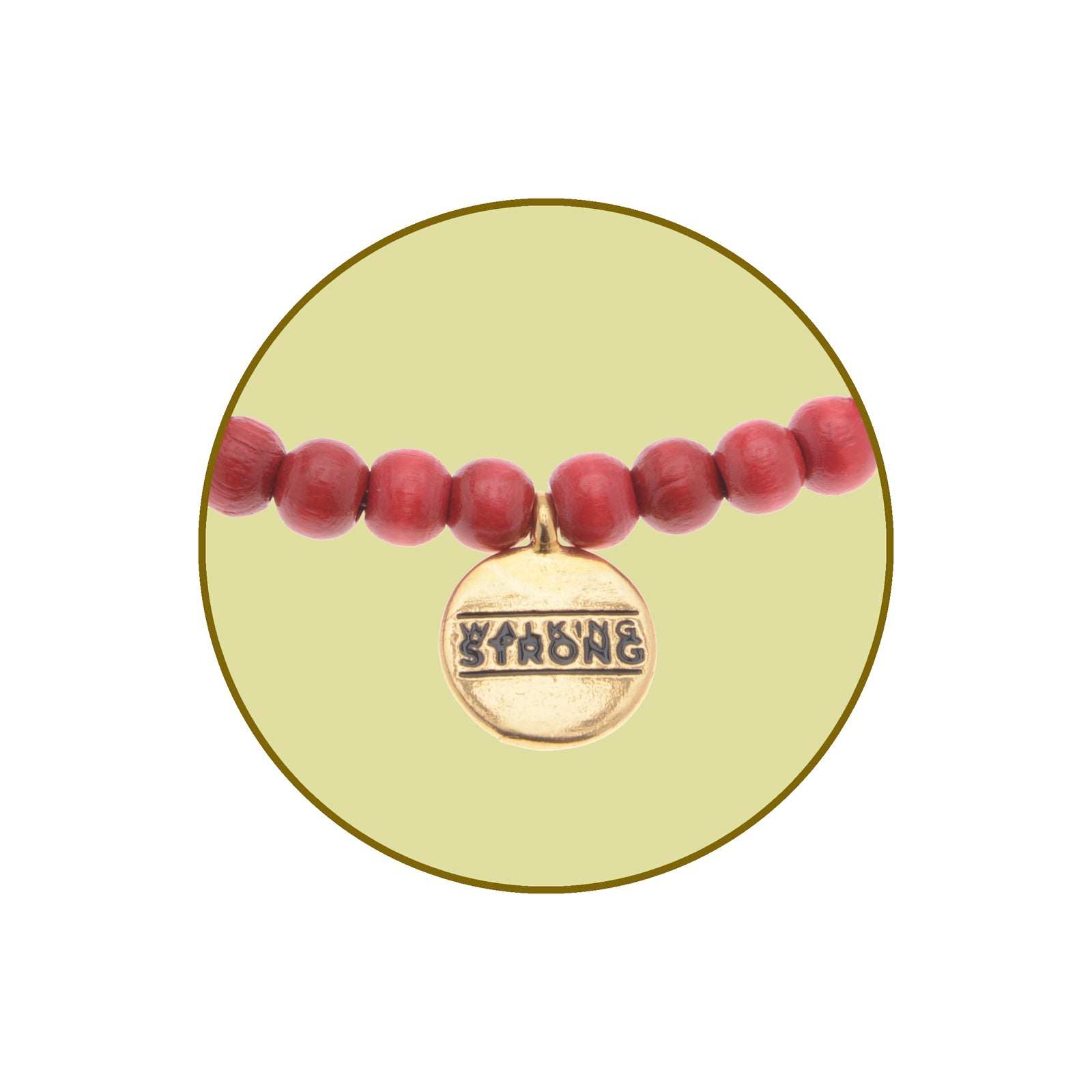 Walking Strong Bracelet - Small Red Wood Beads