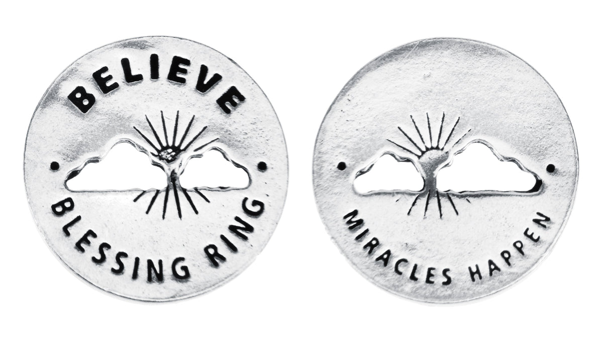 Believe Blessing Ring Charm, Pewter, Handcrafted