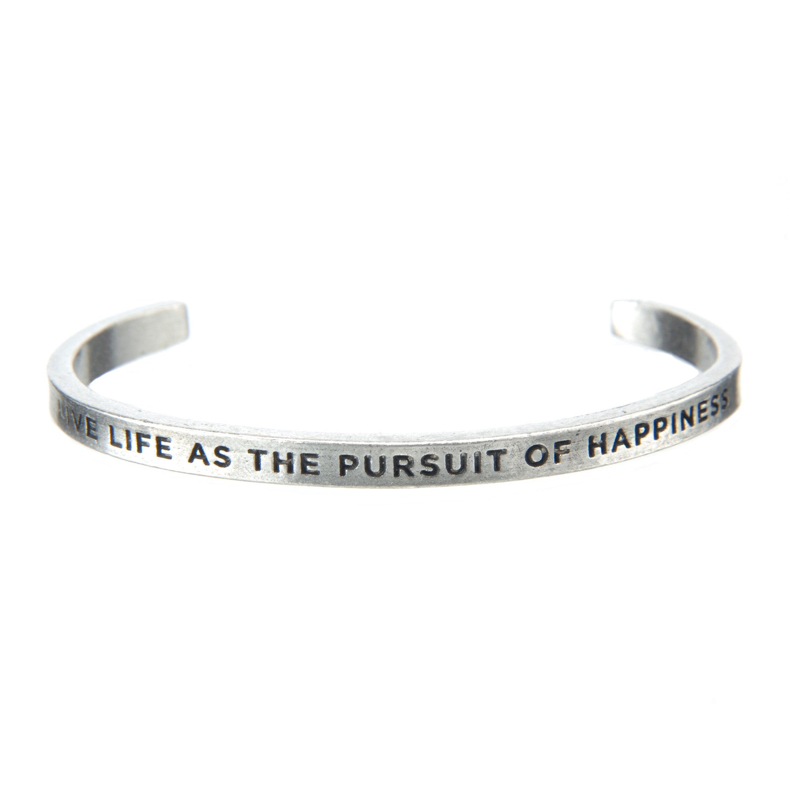 Live Life as the Pursuit of Happiness Quotable Cuff Bracelet - Whitney Howard Designs
