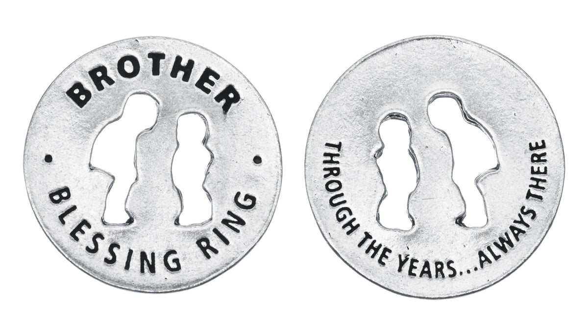 Brother Blessing Ring Charm, Pewter, Handcrafted