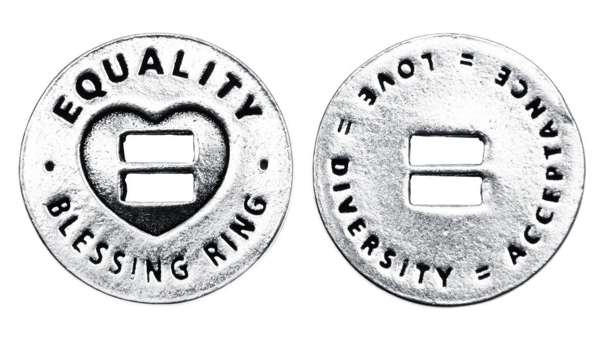 Equality Blessing Ring Charm, Pewter, Handcrafted