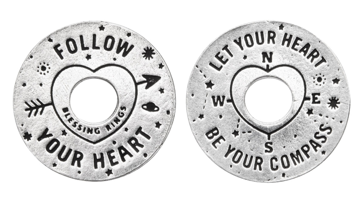 Follow Your Heart Blessing Ring Charm, Pewter, Handcrafted