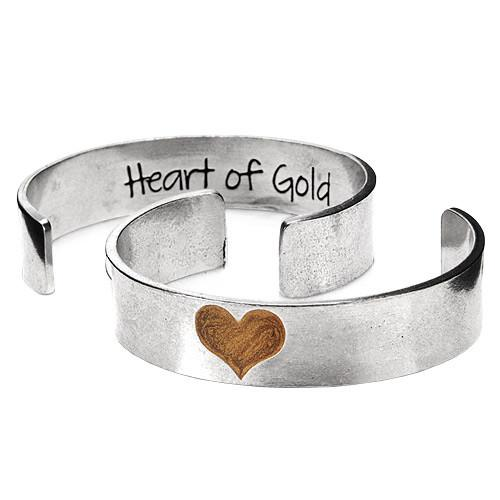 Heart of Gold Wide Cuff Bracelet