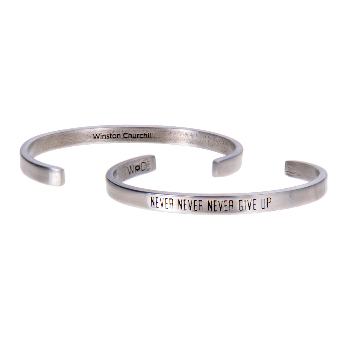 Never Never Never Give Up Winston Churchill Quotable Cuff Bracelet - Whitney Howard Designs