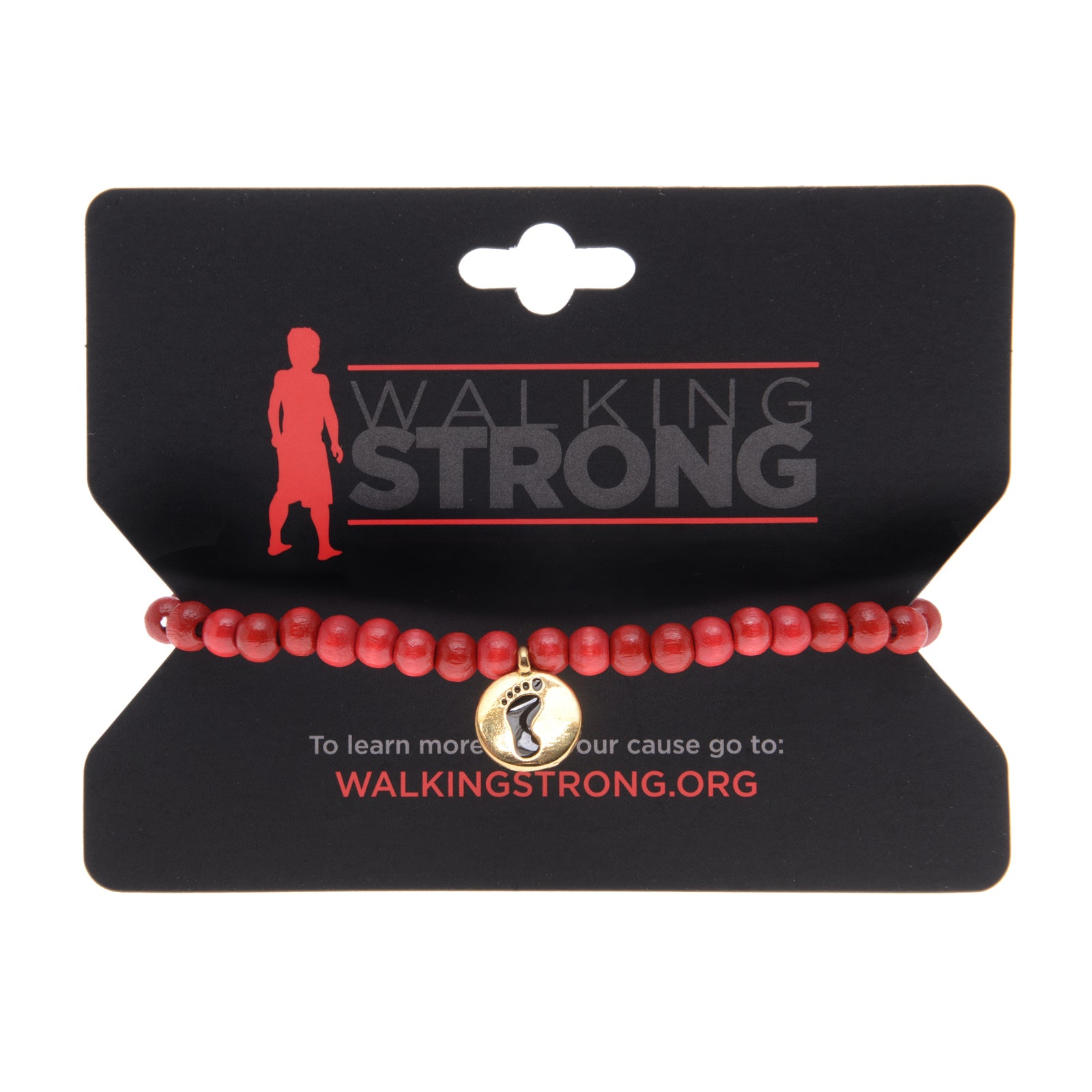 Walking Strong Bracelet - Small Red Wood Beads - Whitney Howard Designs