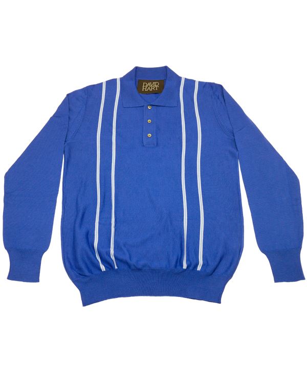 Blue Stripe Polo LS