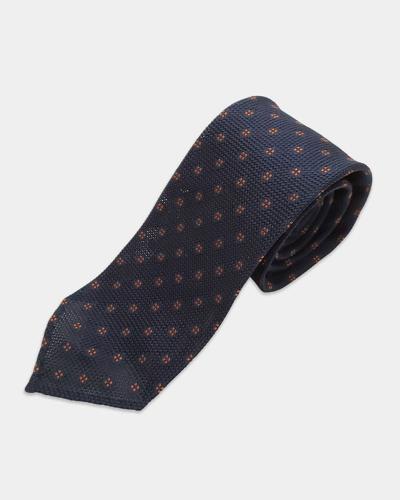 Navy openweave with rust pattern tie (Sale)