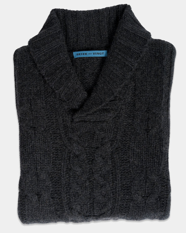 Charcoal Cable Knit Shawl Sweater