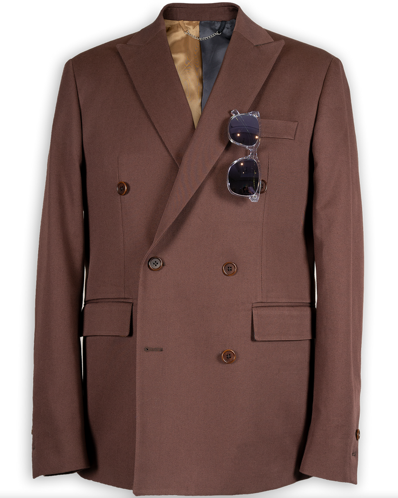 Miles Double-Breasted Walnut Brown Jacket