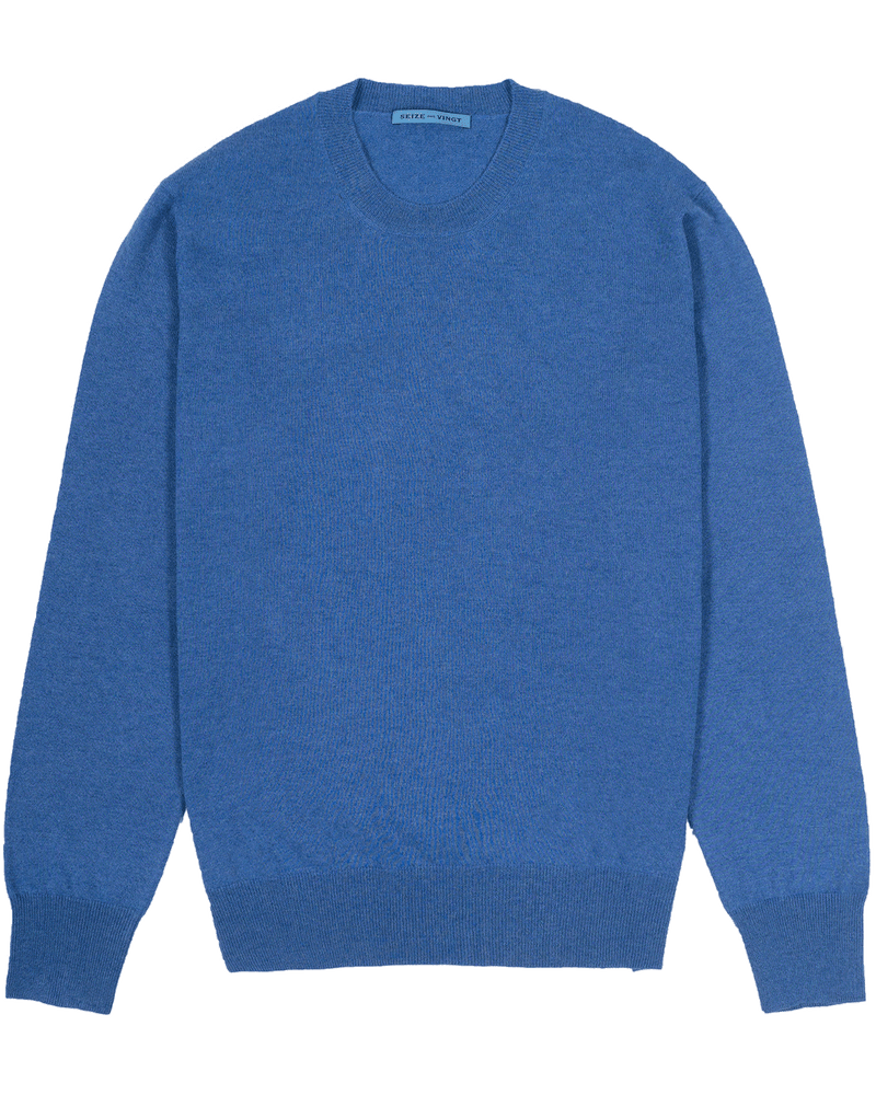 Denim Blue Lightweight Crew Neck Sweater