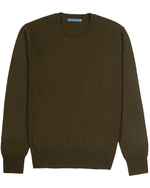 Military Green Lightweight Crew Neck Sweater