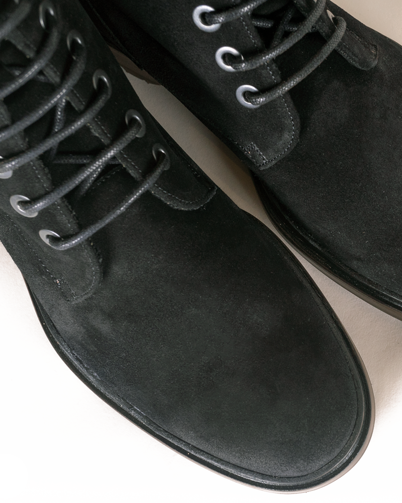 Charcoal Suede Combat Boots - groupe-nyc