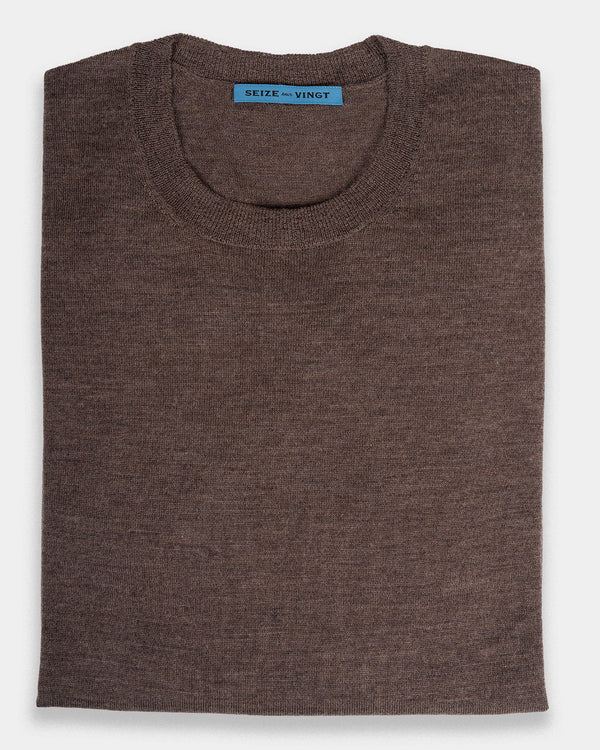 Bormio Dark Taupe Lightweight Merino Crew Neck Sweater