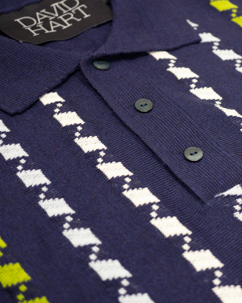 Navy Jacquard Polo (Sale)