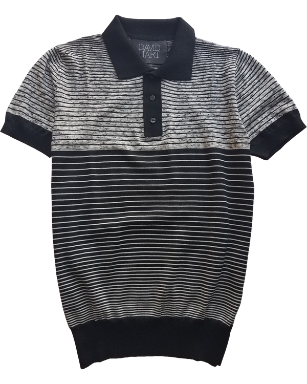 Black Melange Polo Sweater - groupe-nyc