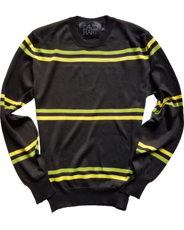 Black Crew Neck Sweater w/ Green & Yellow Stripes - groupe-nyc