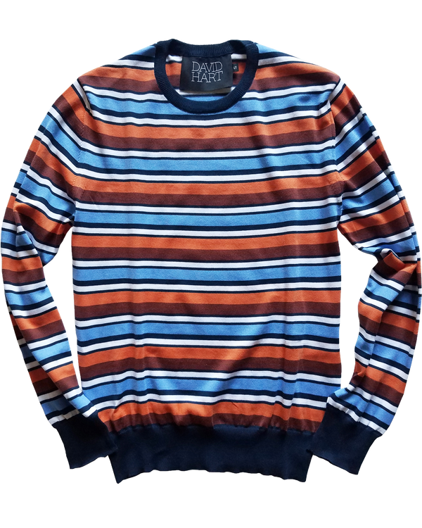 Navy & Coral Striped Crew Sweater - groupe-nyc