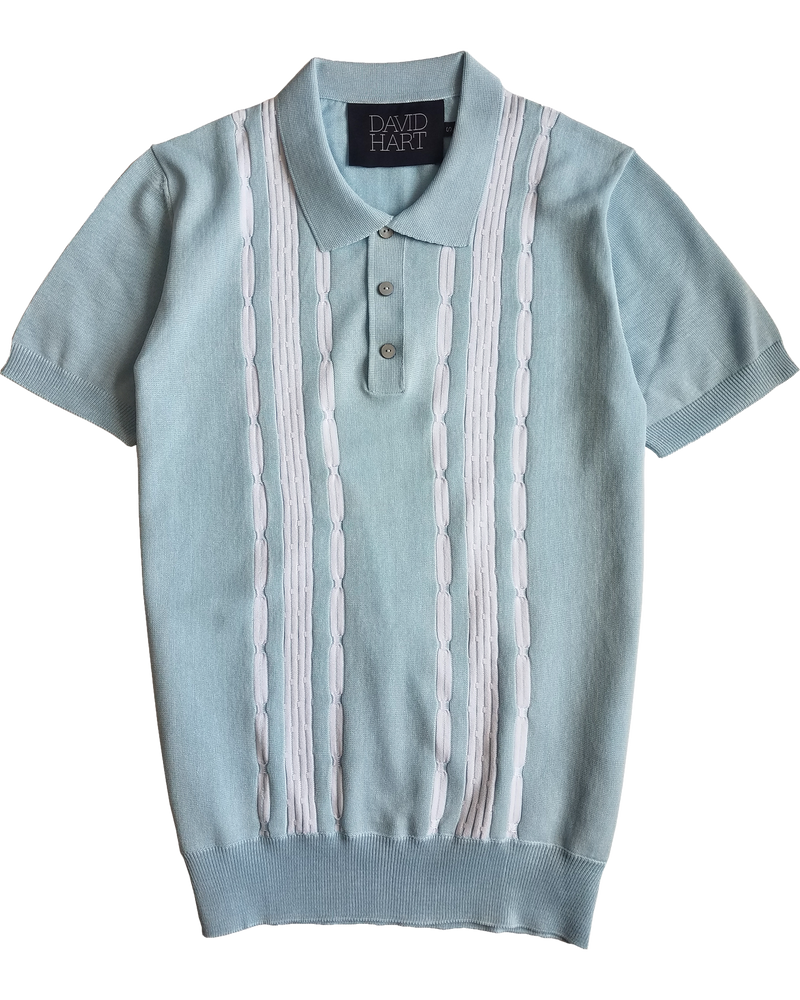 Sky Blue Tri-Cable Polo - groupe-nyc