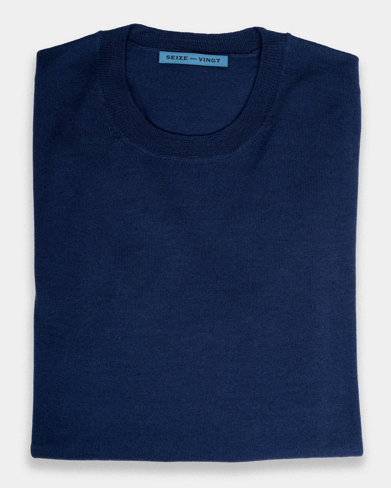 Montefano Navy Lightweight Merino Crew Neck Sweater