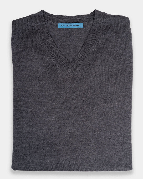 Arcore Medium Grey Lightweight Merino V-Neck Sweater