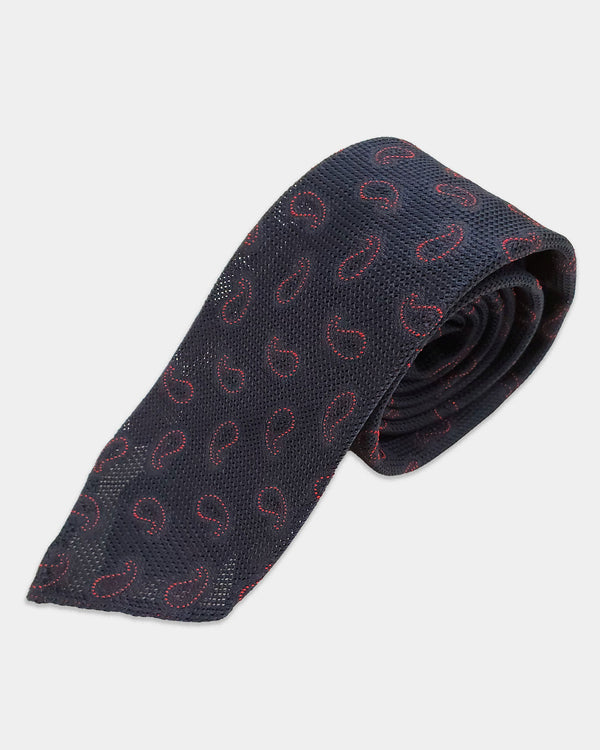 Dark navy openweave with red paisley tie (Sale)