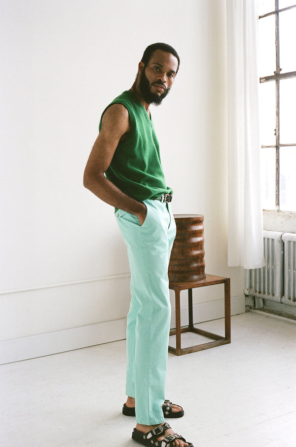 Straight Leg Yucca Green Pant (Pre-Order)