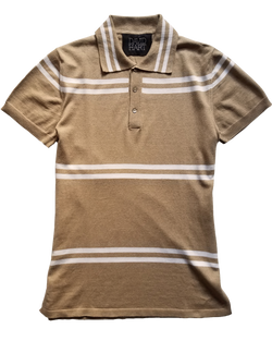 Camel Double Stripe Polo Sweater - groupe-nyc