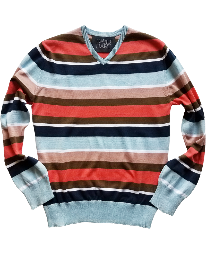 Blue & Coral Striped V-Neck Sweater - groupe-nyc