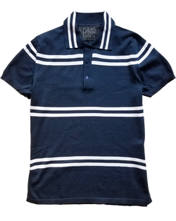 Navy Double Stripe Polo Sweater - groupe-nyc