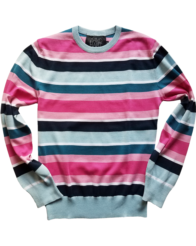 Blue & Pink Striped Crew Sweater - groupe-nyc