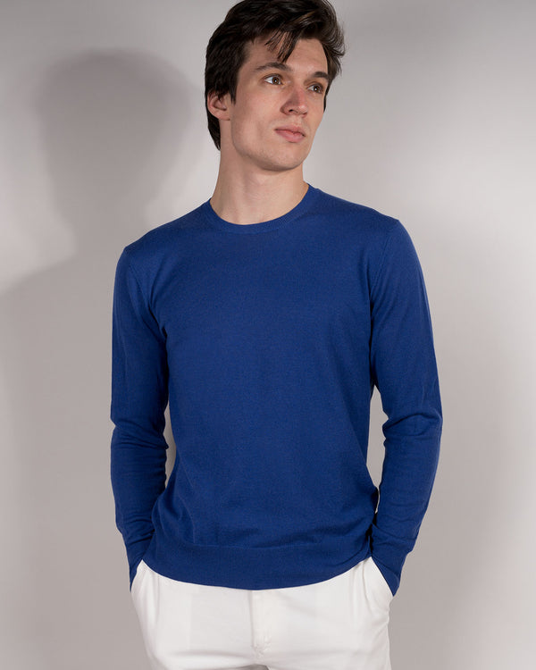 Cobalt Lightweight Cashmere Crew Neck Sweater (Sale)