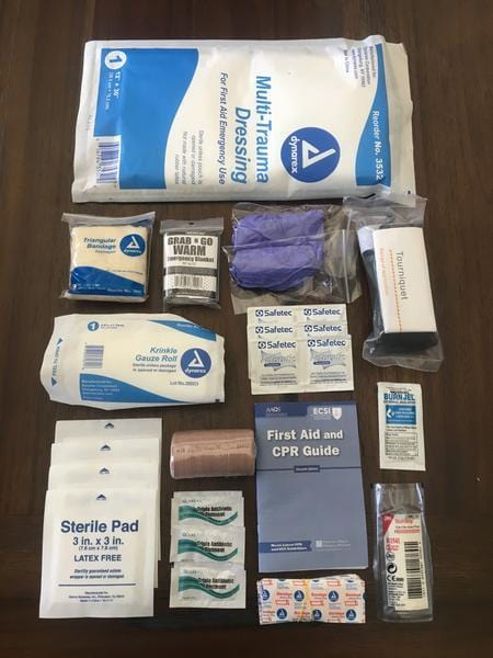 First Aid Kit (zippered pouch, decals, and medical supplies only)