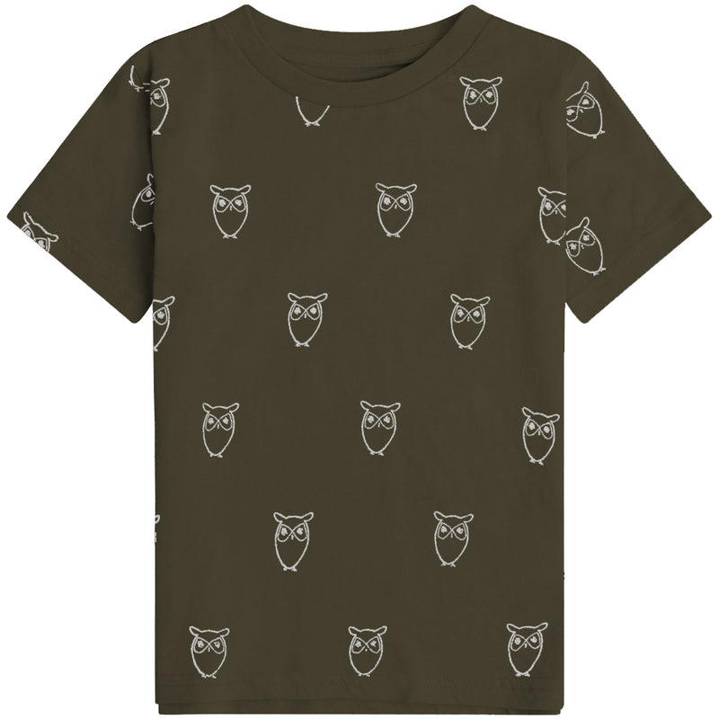 Knowledge Cotton flax owl aop tee, forrest night