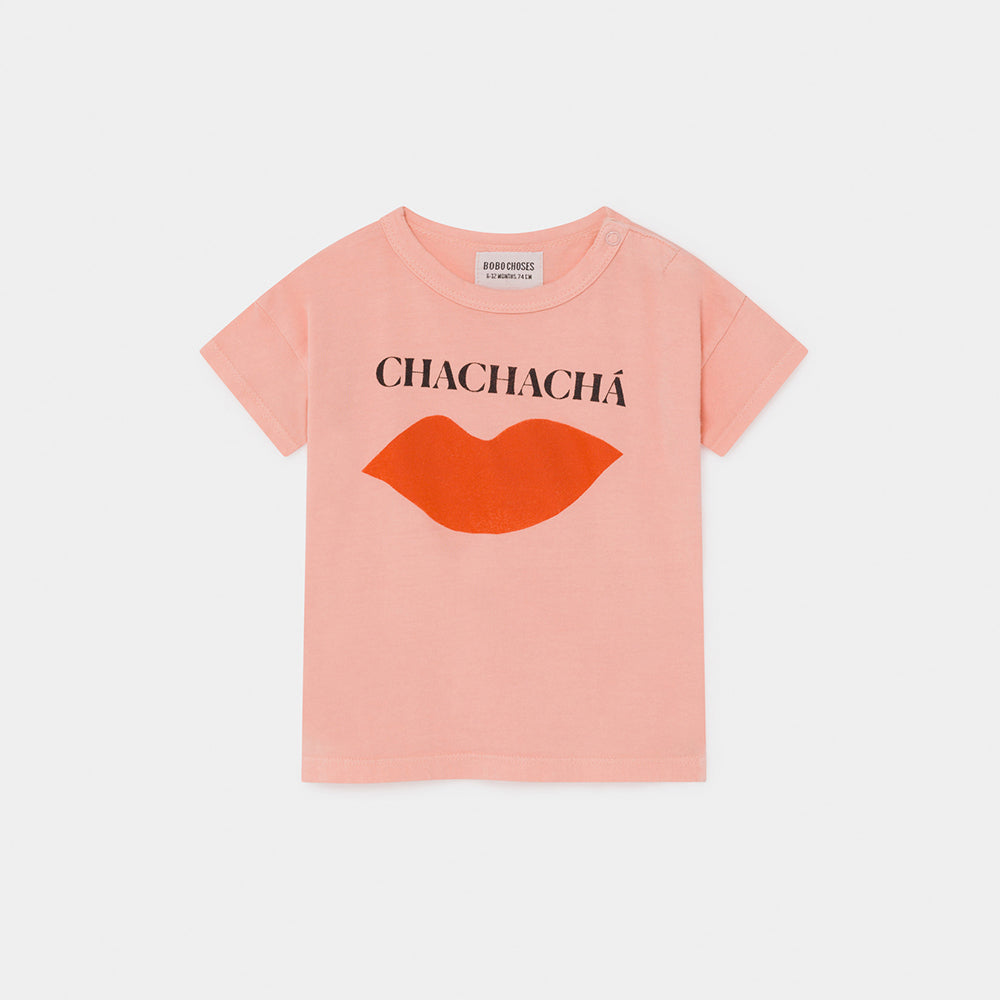Bobo Choses chachacha kiss baby tee, blooming dahlia