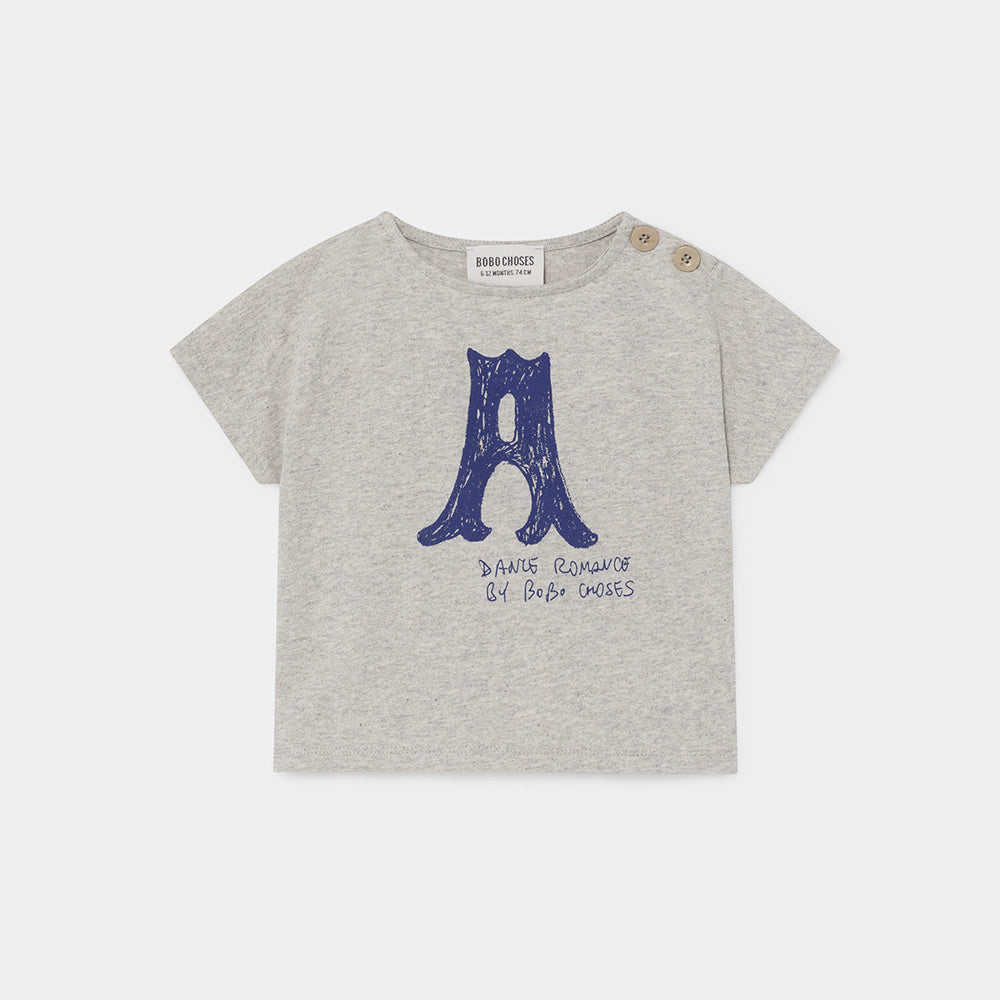 Bobo Choses a dance romance baby tee, light grey