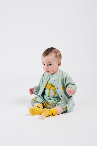 Bobo Choses leopard buttoned terry baby svetari, frosty green