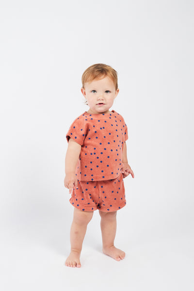 Bobo Choses dots terry towel baby shortsit, autumn leaf