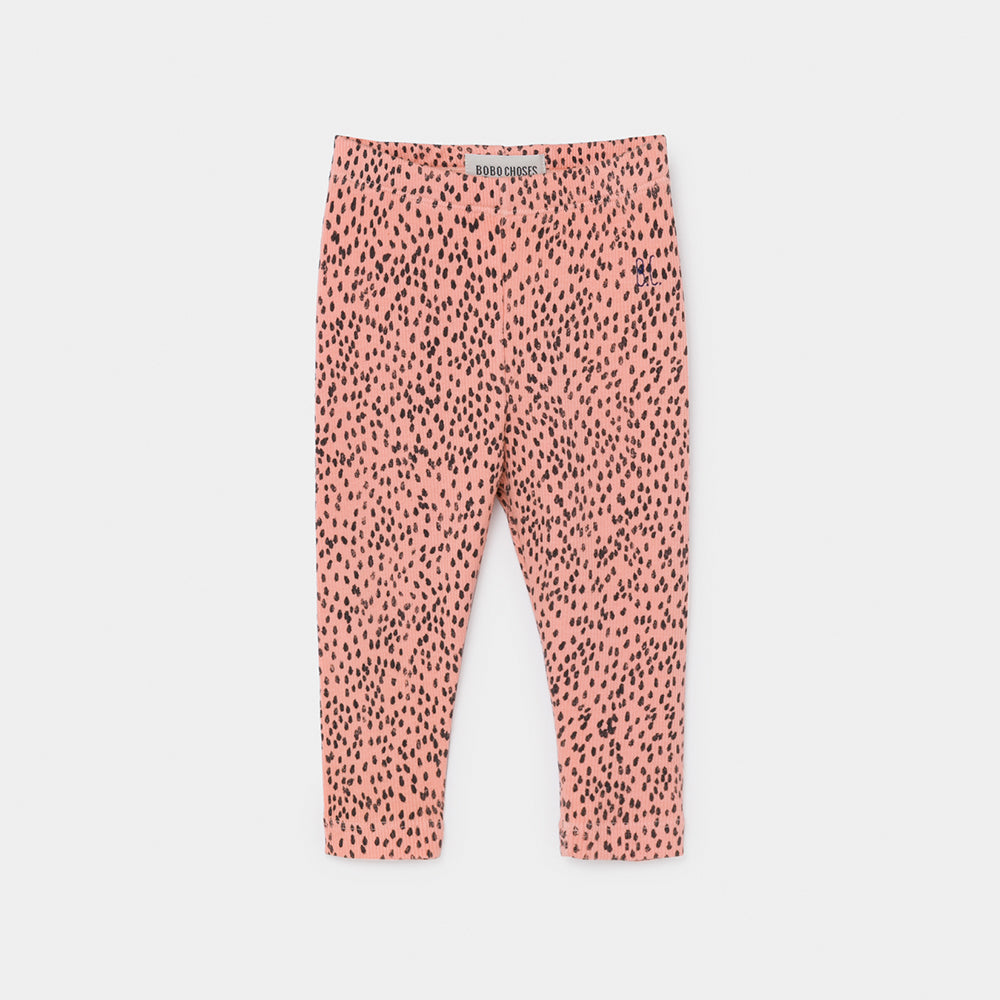 Bobo Choses all over leopard pink baby leggarit, blooming dahl