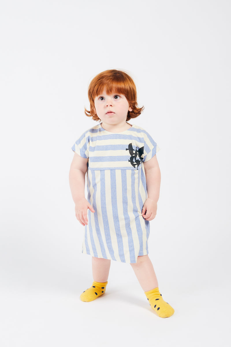Bobo Choses flying birds t-shirt baby mekko, blue striped