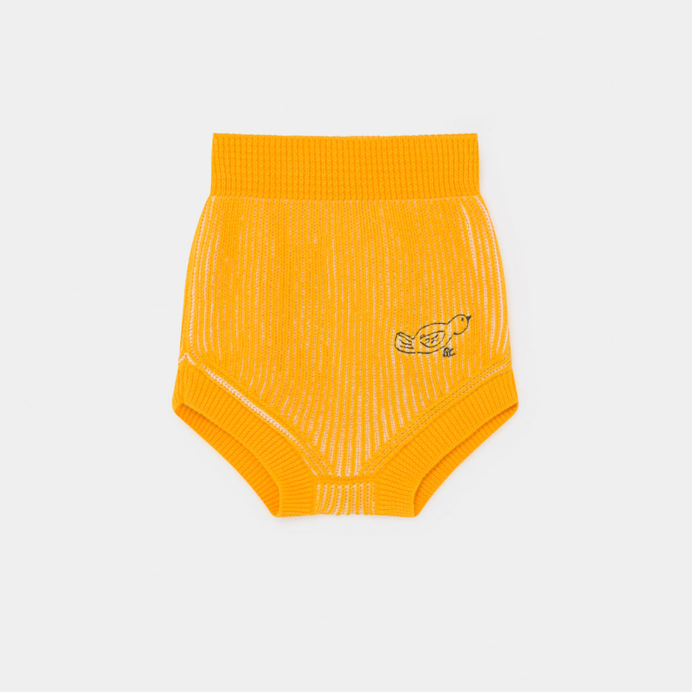 Bobo Choses yellow striped knitted baby culotte shortsit, spectra yellow
