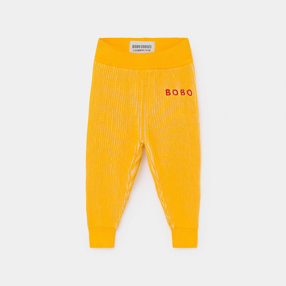 Bobo Choses yellow striped knitted baby housut, spectra yellow