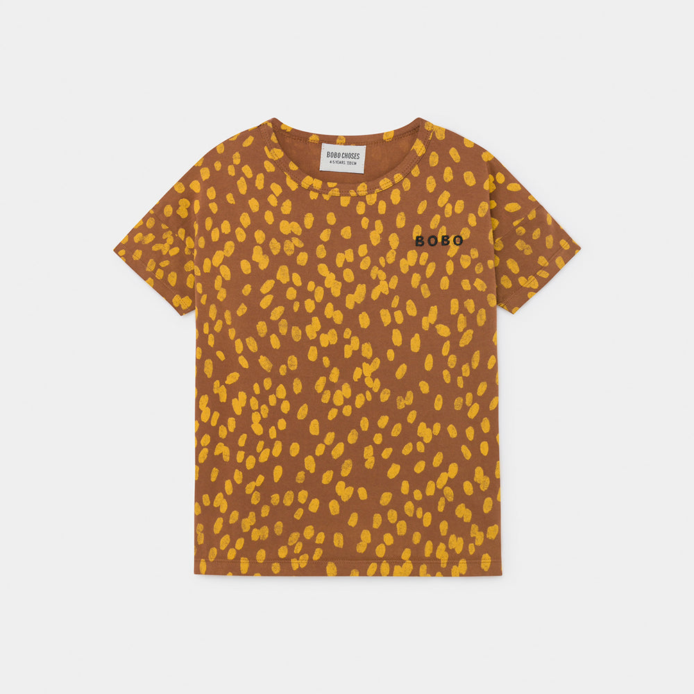 Bobo Choses animal print tee, mocha bisque