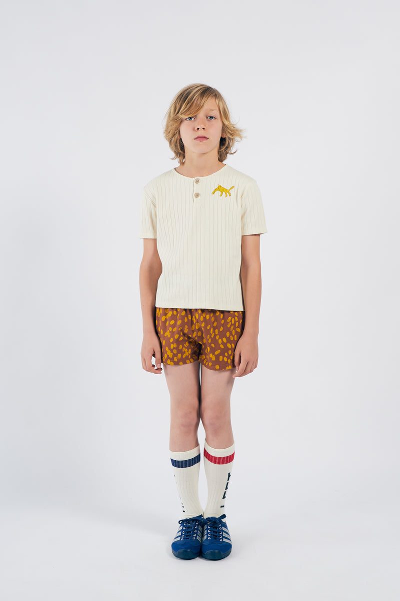 Bobo Choses animal print jersey shortsit, mocha bisque