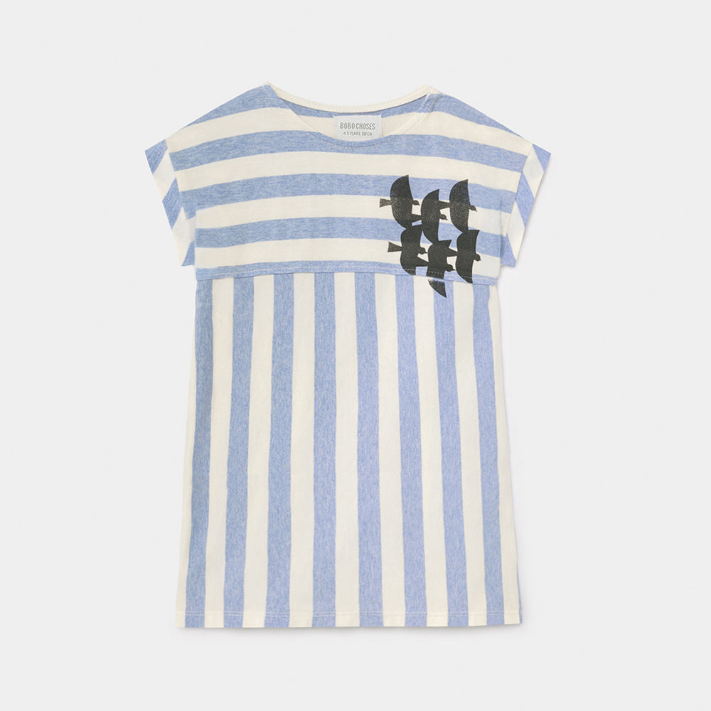 Bobo Choses flying birds striped  t-shirt mekko, blue striped