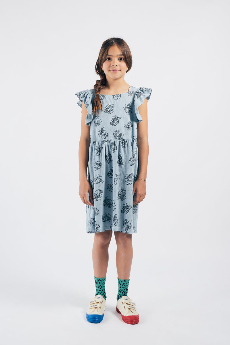Bobo Choses all over pineapple jersey ruffle mekko, blue fog