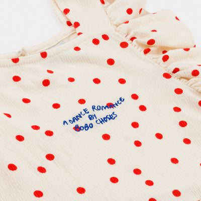 Bobo Choses dots jersey ruffle mekko, turtledove