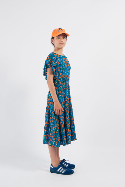 Bobo Choses all over oranges flamenco mekko, azure blue