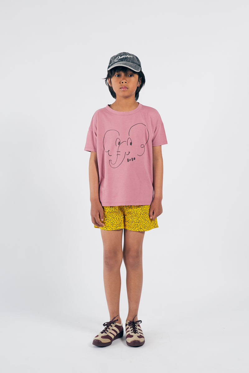 Bobo Choses all over leopard woven shortsit, spectra yellow