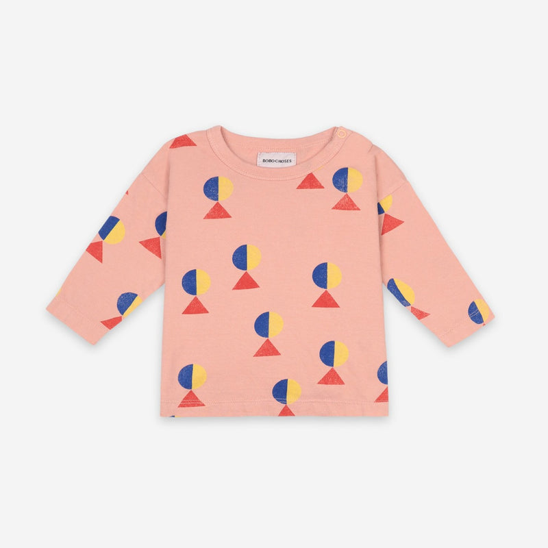 Bobo Choses geometric aop baby paita, dusty pink