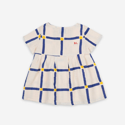 Bobo Choses cube aop buttoned baby mekko, white swan